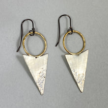 Load image into Gallery viewer, Brass Hoop & Arrowhead Earrings made in Bend Oregon by Junk to Jems