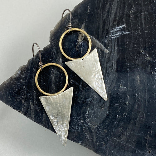 Brass Hoop & Arrowhead Earrings made in Bend Oregon by Junk to Jems