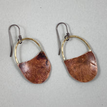 Load image into Gallery viewer, Copper & Brass Short Handle Basket Earrings made in Bend Oregon by Junk to Jems