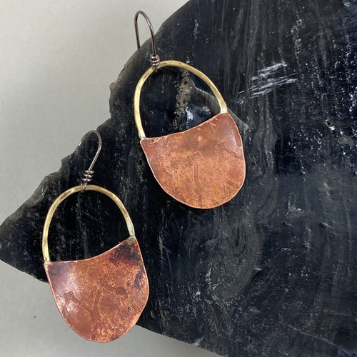 Copper & Brass Short Handle Basket Earrings made in Bend Oregon by Junk to Jems