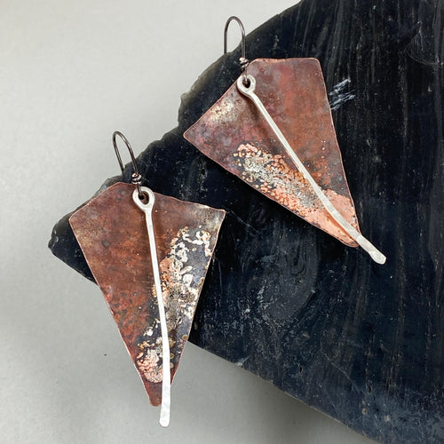 Copper & Silver Arrowhead Earrings made in Bend Oregon by Junk to Jems