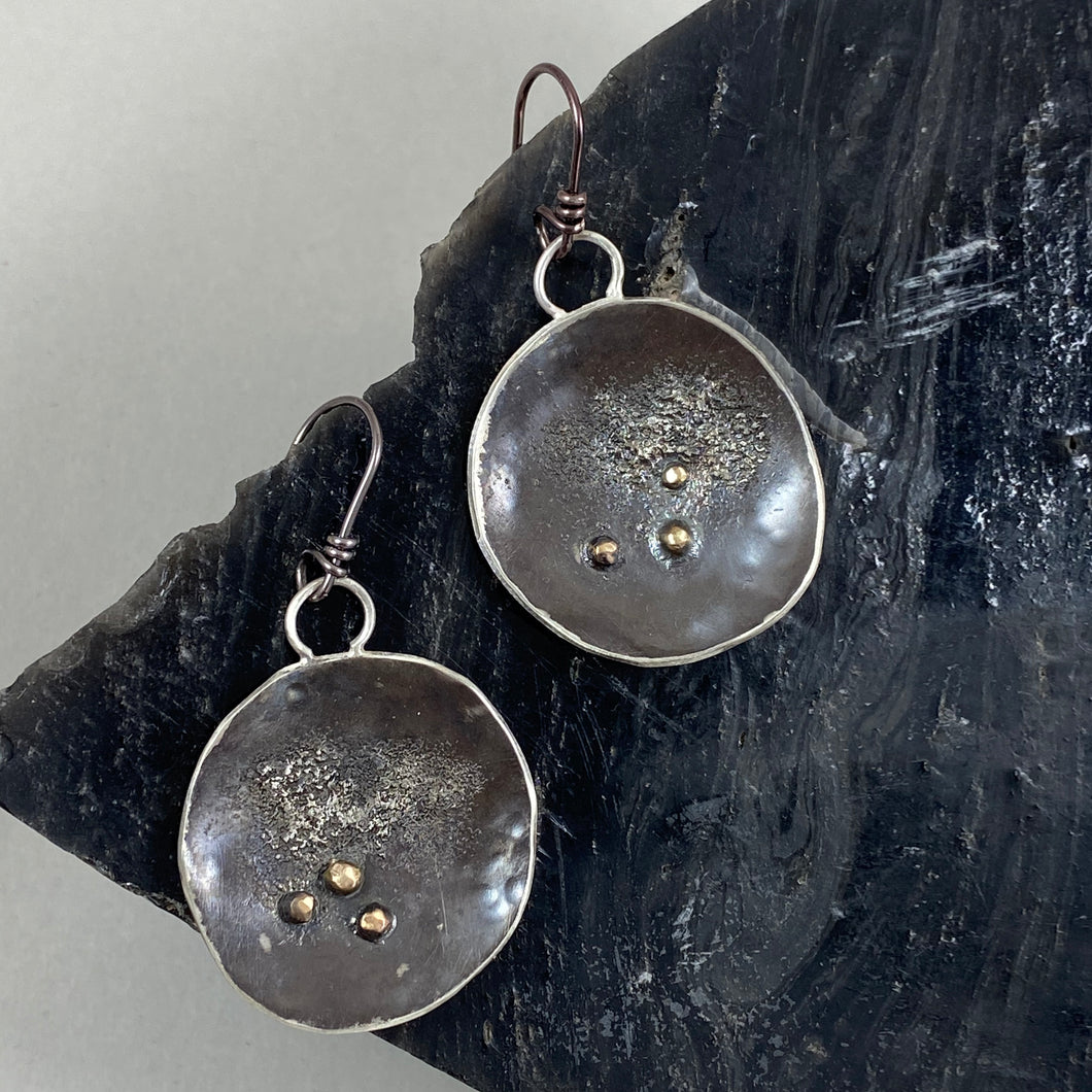 Handmade New Moon earrings, made in Bend Oregon by Junk to Jems