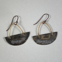 Load image into Gallery viewer, Silver & Brass Half Moon Basket Earrings made in Bend Oregon by Junk to Jems