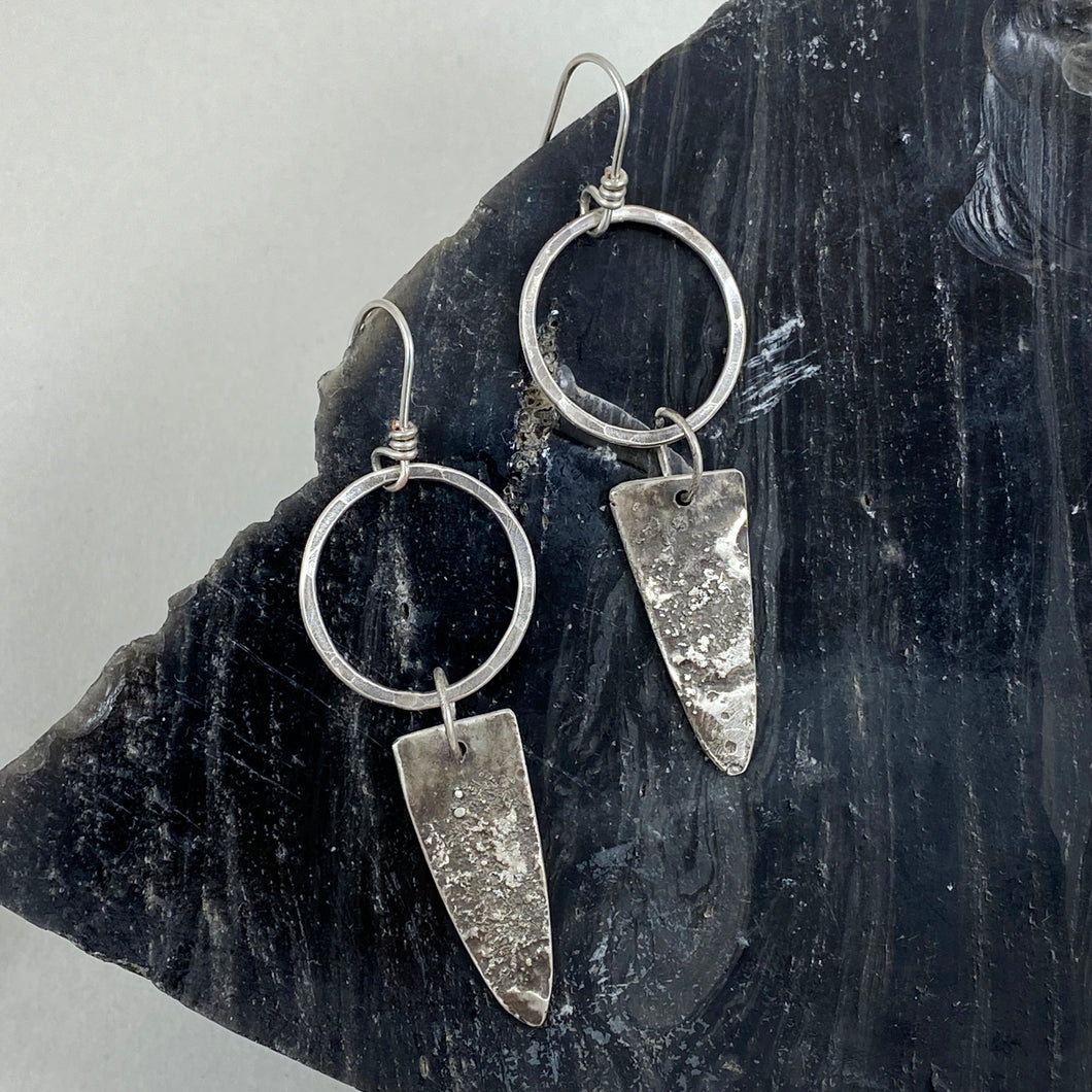 Silver Hoop Textured Arrowhead Dangle Earrings made in Bend Oregon by Junk to Jems