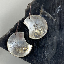 Load image into Gallery viewer, Wax Wane Moon Earrings made in Bend Oregon by Junk to Jems