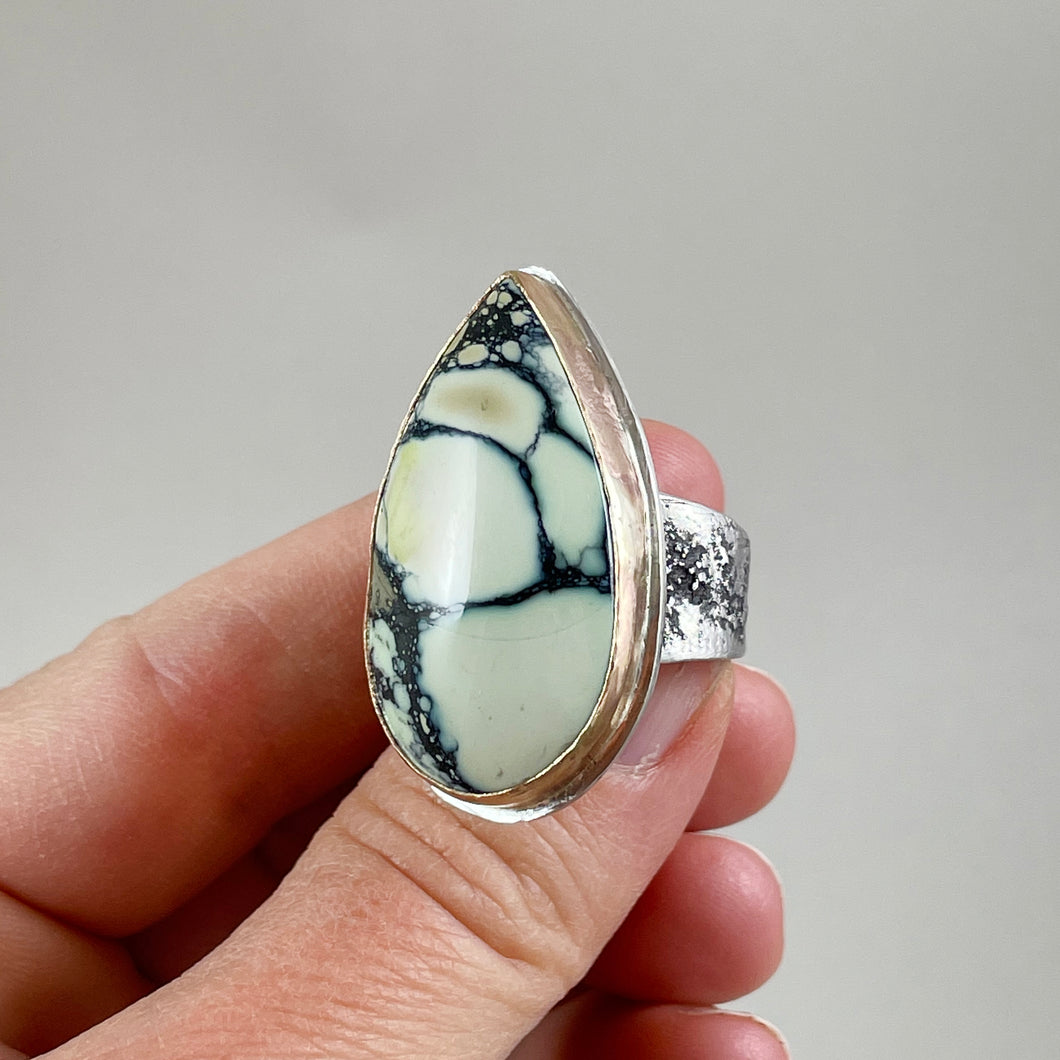 New Lander Variscite Ring with Gold Bezel, made in Bend Oregon by Junk to Jems
