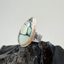 Load image into Gallery viewer, New Lander Variscite Ring with Gold Bezel, made in Bend Oregon by Junk to Jems