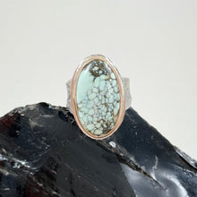 Load image into Gallery viewer, Oval New Lander Variscite Ring with Gold Bezel, made in Bend Oregon by Junk to Jems