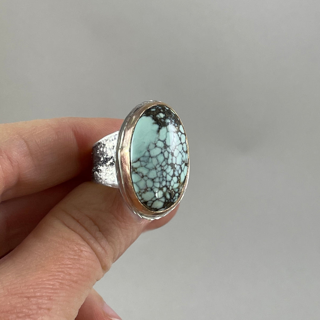 Oval New Lander Variscite Ring with Gold Bezel, made in Bend Oregon by Junk to Jems