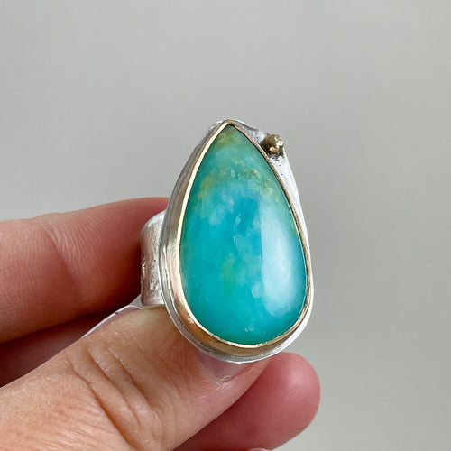 Peruvian Blue Opal Ring made in Bend Oregon by Junk to Jems