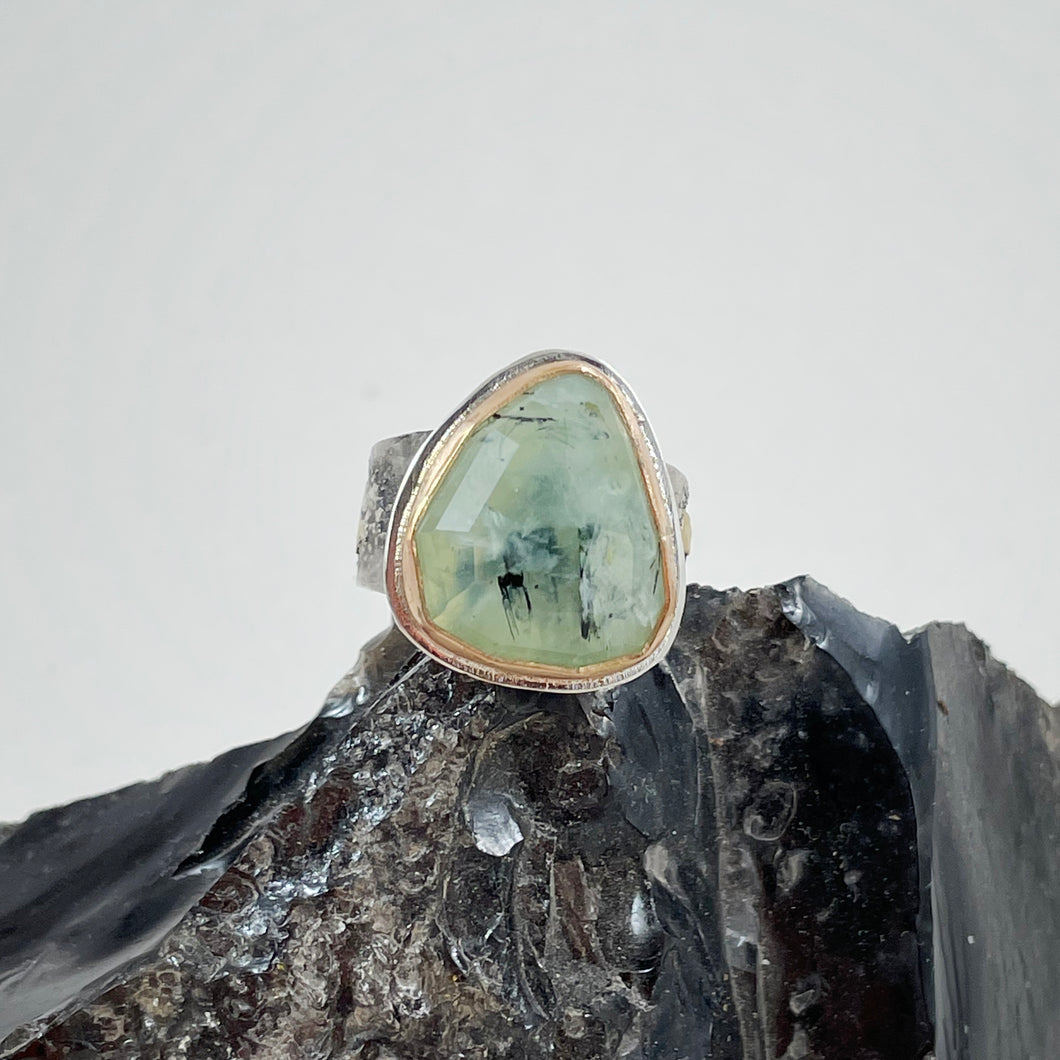 Prehnite Ring with Gold Bezel, Bend Oregon jewelry by Junk to Jems