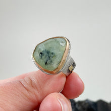 Load image into Gallery viewer, Prehnite Ring with Gold Bezel, Bend Oregon jewelry by Junk to Jems