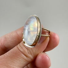Load image into Gallery viewer, Oval Moonstone Gold & Silver Ring made in Bend Oregon by Junk to Jems