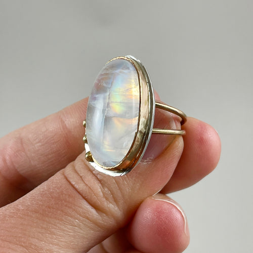 Oval Moonstone Gold & Silver Ring made in Bend Oregon by Junk to Jems
