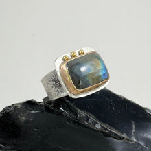 Load image into Gallery viewer, Labradorite Ring with Gold Bezel Silver Dots, made in Bend Oregon by Junk to Jems