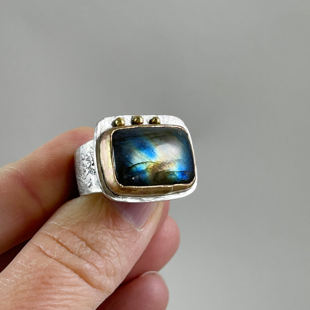 Labradorite Ring with Gold Bezel Silver Dots, made in Bend Oregon by Junk to Jems