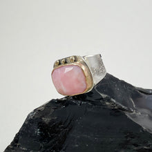 Load image into Gallery viewer, Rose Quartz Ring Adorned with Gold Dots, made in Bend Oregon by Junk to Jems