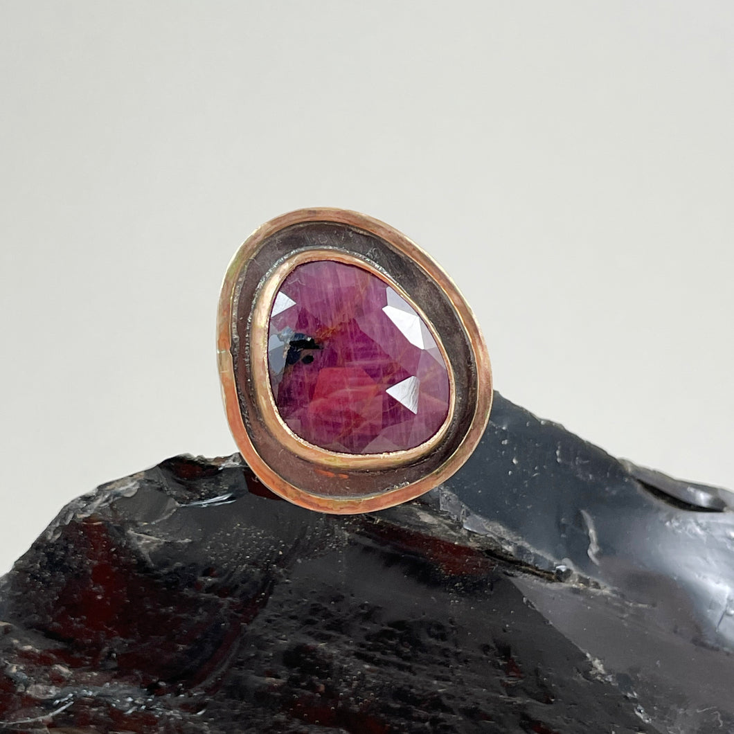 Ruby Sapphire Ring with Double Gold Accent, made in Bend Oregon by Junk to Jems