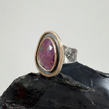 Load image into Gallery viewer, Ruby Sapphire Ring with Double Gold Accent, made in Bend Oregon by Junk to Jems