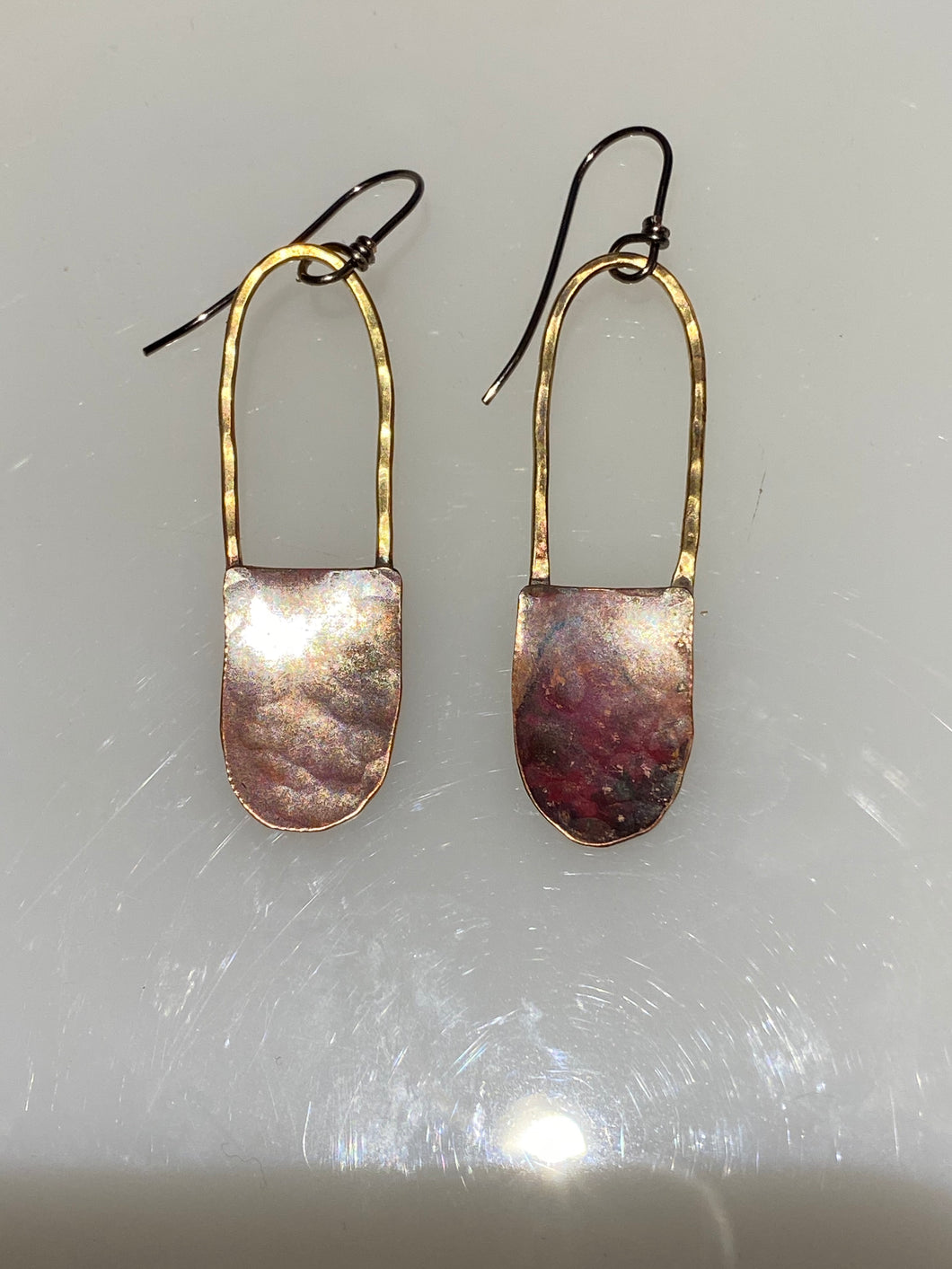 Copper and Brass Basket Earrings-long handle