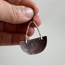 Load image into Gallery viewer, Silver & Copper Half Moon Basket Earrings made in Bend Oregon by Junk to Jems