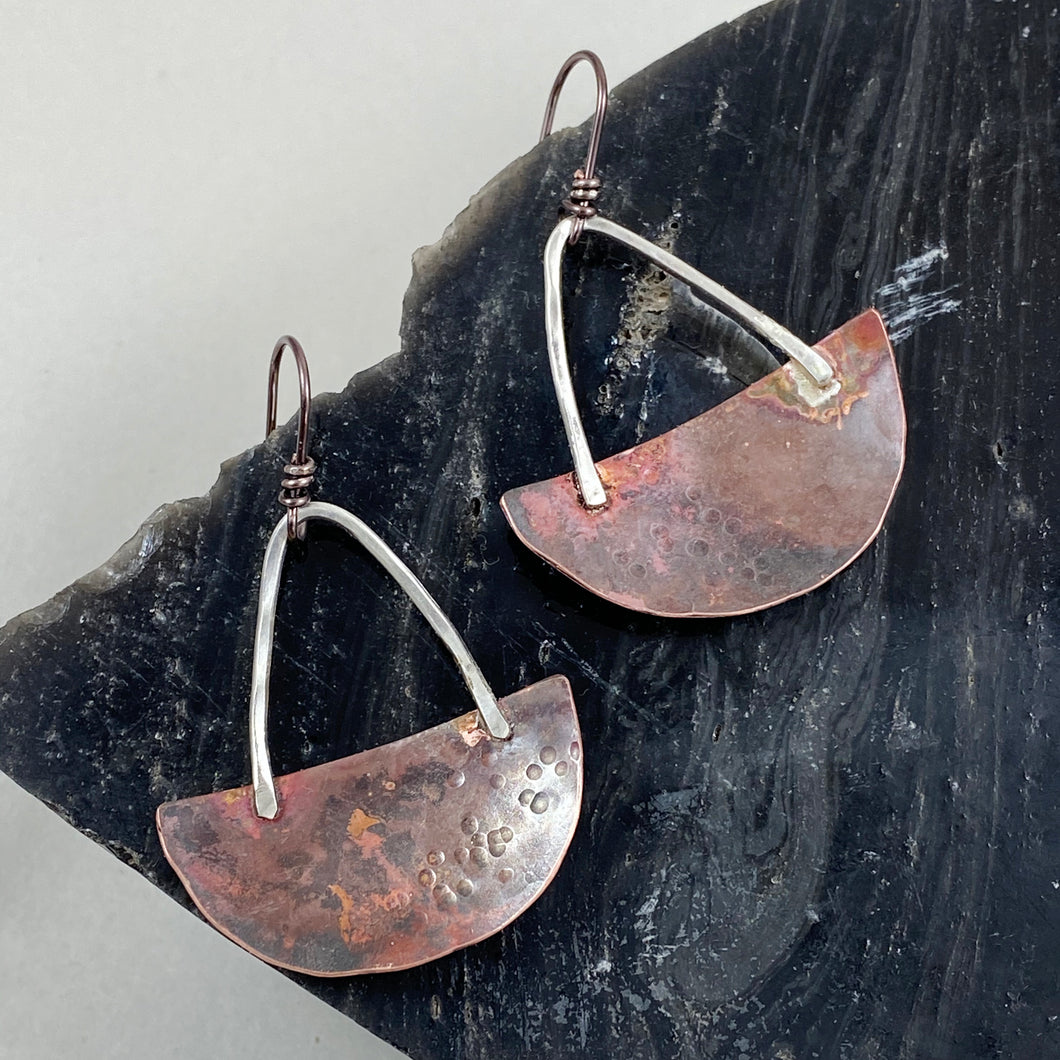 Silver & Copper Half Moon Basket Earrings made in Bend Oregon by Junk to Jems