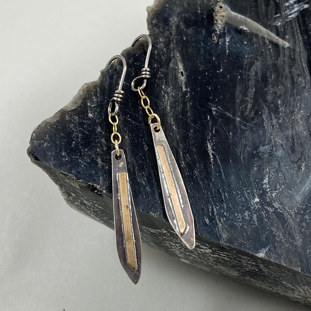 Silver & Gold Icicle Chain Dangle Earrings made in Bend Oregon by Junk to Jems