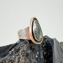 Load image into Gallery viewer, Tourmalinated Quartz Ring with Double Gold Accent, made in Bend Oregon by Junk to Jems
