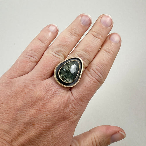Tourmalinated Quartz Ring with Double Gold Accent, made in Bend Oregon by Junk to Jems