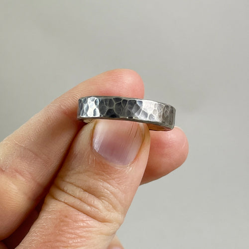 Thick Hammered Sterling Silver Ring - Mens / Unisex, made in Bend Oregon by Junk to Jems