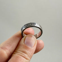 Load image into Gallery viewer, Thick Hammered Sterling Silver Ring - Mens / Unisex, made in Bend Oregon by Junk to Jems