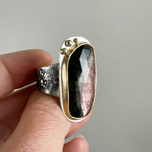 Load image into Gallery viewer, Green Pink Tourmaline Ring with Gold Bezel and Dots, made in Bend, Oregon by Junk to Jems