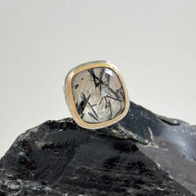 Load image into Gallery viewer, Tourmalinated Quartz Ring with Gold Bezel