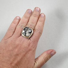 Load image into Gallery viewer,  Tourmalinated Quartz Ring with Gold Bezel, made in Bend Oregon by Junk to Jems