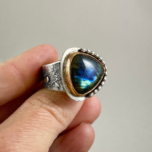 Labradorite Ring with Gold Bezel Silver Accents, made in Bend Oregon by Junk to Jems