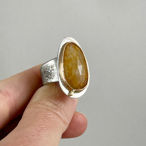 Yellow Sapphire Ring, made in Bend Oregon by Junk to Jems