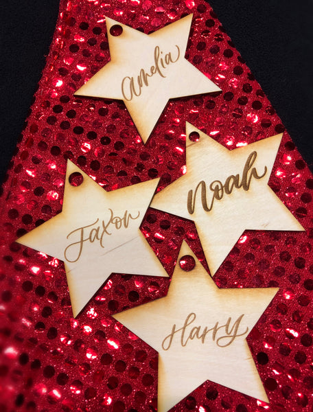 Handcrafted Personalised Wooden Name Star
