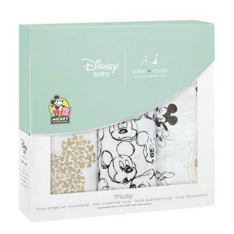aden+anais Mickey's 90th Disney Baby Muslin Squares, Pack of 3