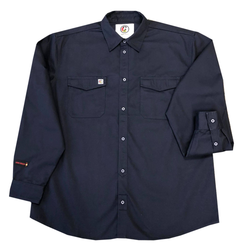 Long Sleeve Navy Fire Resistant Button Up - FR