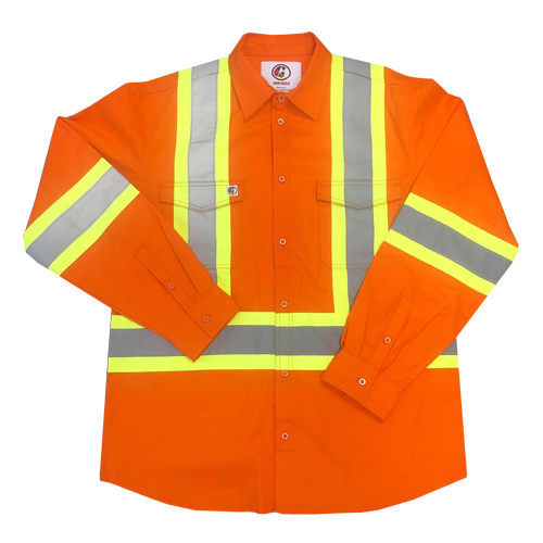 Long Sleeve - Hi Vis Button Up Shirt - FR