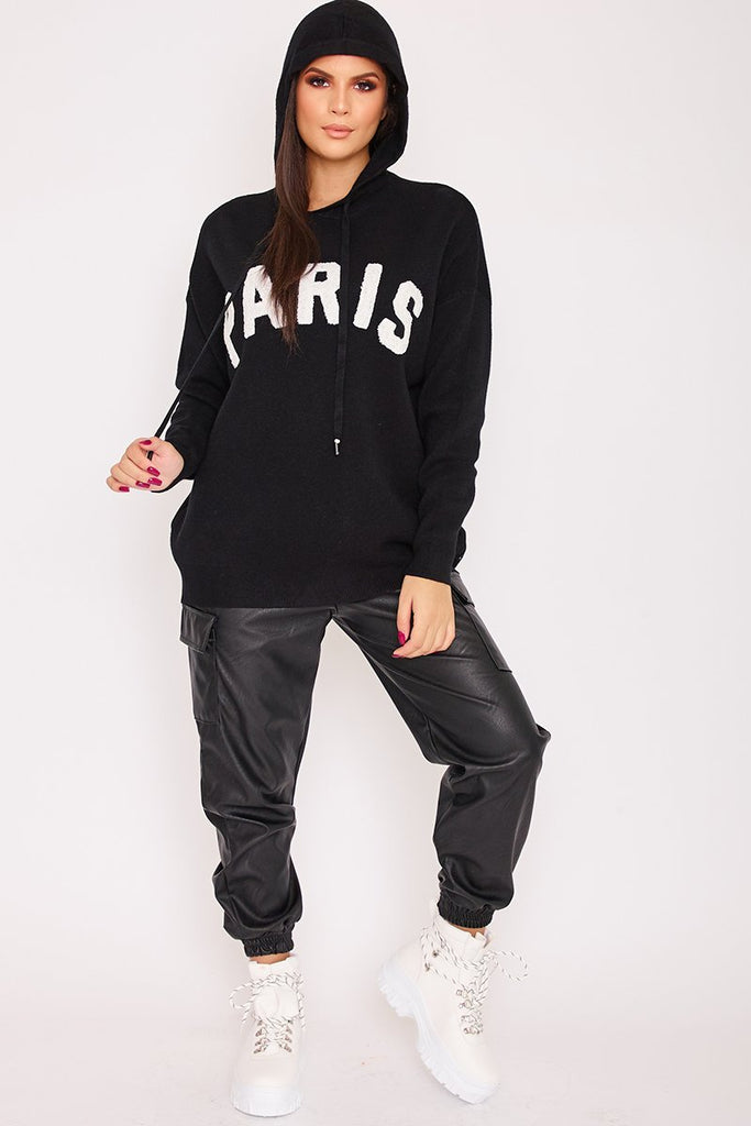 Amaya Black Paris Slogan Hoodie-Missrepresent