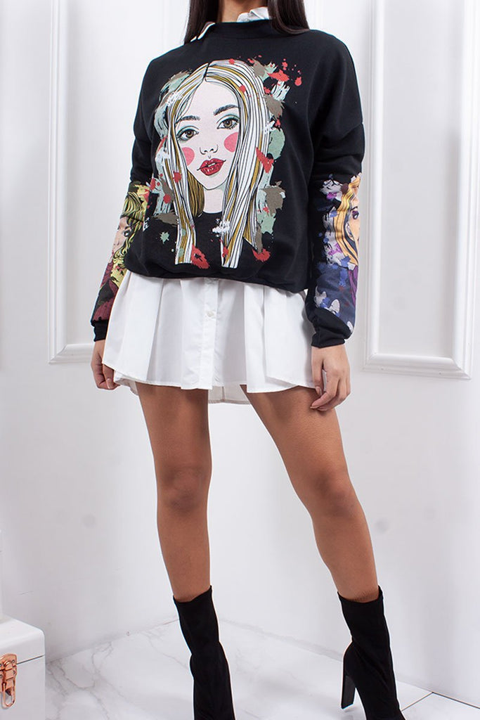 Amora Black Graphic Head Print Oversized Jumper-Missrepresent