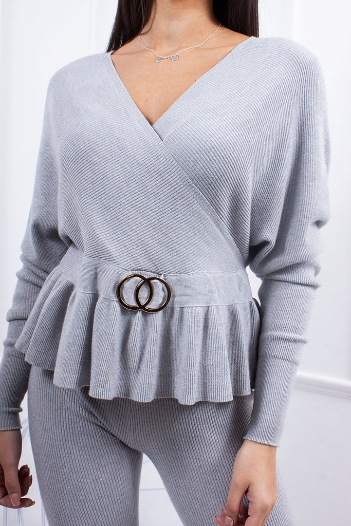 Andi Grey Wrap Ring Detail Co-Ord Lounge Set-Missrepresent