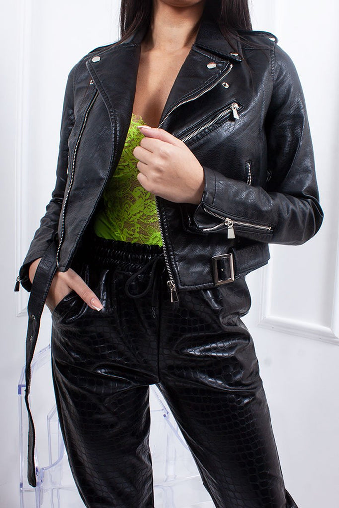 Aria Black Faux Leather Zip Detail Biker Jacket-Missrepresent