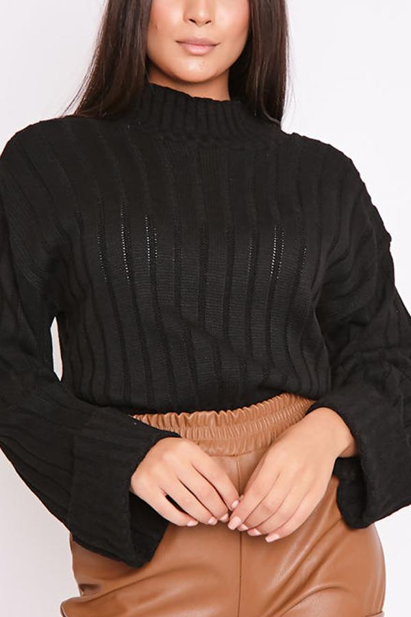 Bella Black Ribbed High Neck Knitted Jumper-Missrepresent