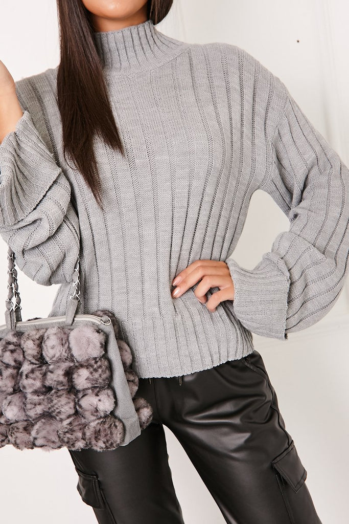 Bella Grey Ribbed High Neck Knitted Jumper-Missrepresent