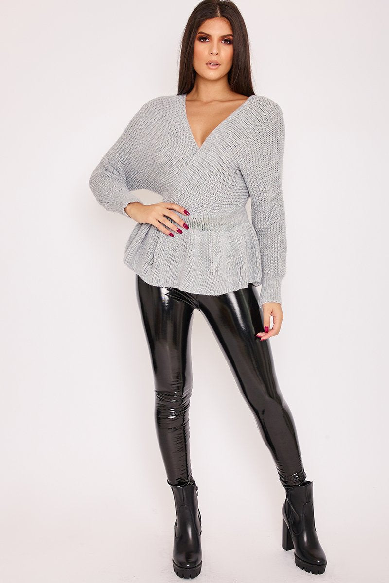 Belle Grey Knitted Wrap Top-Missrepresent