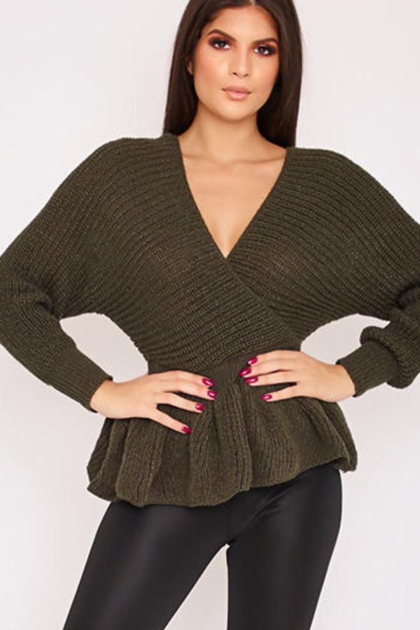 Belle Khaki Knitted Wrap Top-Missrepresent