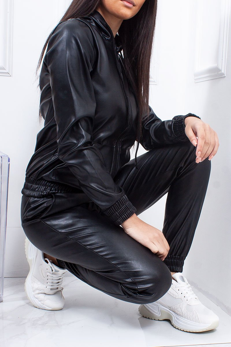 Camila Black Faux Leather Co-Ord Tracksuit-Missrepresent