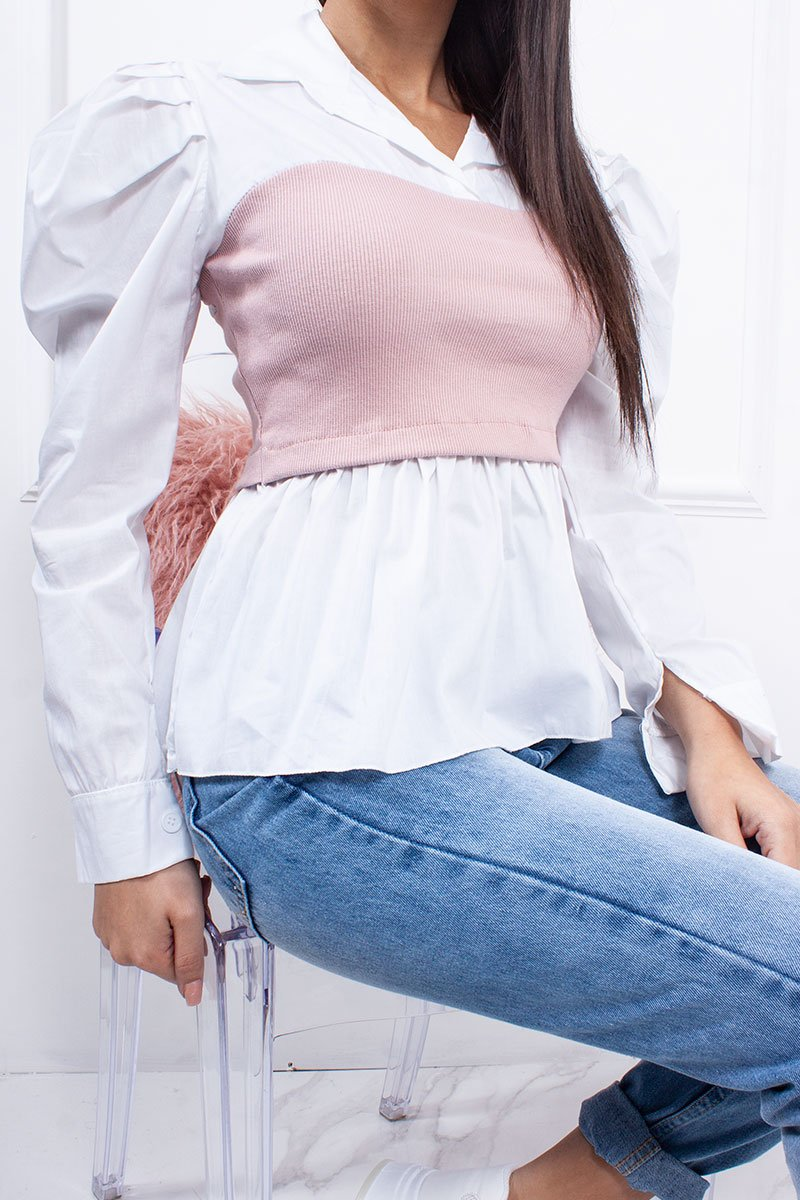 Demi White Pink Ribbed Bandeau Detail Shirt-Missrepresent